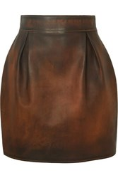 Versace Pleated Antiqued Leather Mini Skirt Brown