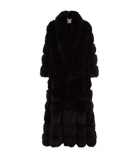 Lilly E Violetta Long Fox Fur Coat Black