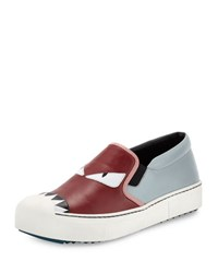Fendi Flat Bugs Leather Sneaker New Gray Rosewood