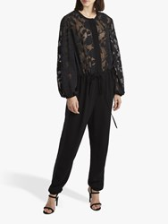 French Connection Besse Puff Sleeve Jumpsuit Black
