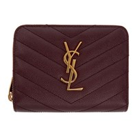 Saint Laurent Red Small Compact Zip Around Wallet