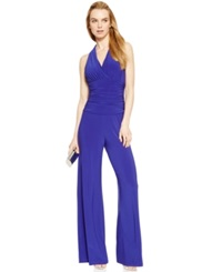 Nine West Ruched Halter Jumpsuit Purple