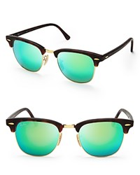Ray Ban Mirrored Clubmaster Sunglasses 51Mm Green Mirror