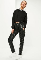 Missguided Black Faux Leather Joggers