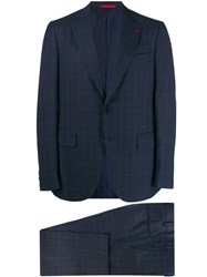 Isaia Check Two Piece Suit Blue