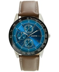 Unlisted Men's Chronograph Brown Synthetic Leather Strap Watch 46Mm 10027780 Only At Macy's
