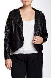 Mynt 1792 Quilted Faux Leather Jacket Plus Size Black