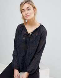 See U Soon Lace Blouse With Tie Neck Black