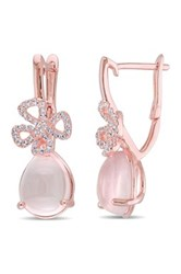 Rose Quartz And White Topaz Bow Drop Earrings Pink