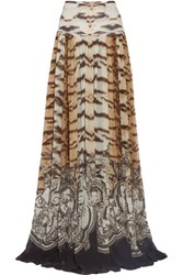 Roberto Cavalli Pleated Printed Silk Chiffon Maxi Skirt Multi