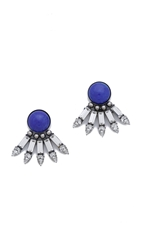 Dannijo Zev Earrings Silver Crystal Royal Blue