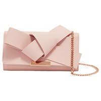 66c6fbe0152ff2 John Lewis. Save. Ted Baker Lyle Giant Knot Bow Leather Evening Bag Light  Pink