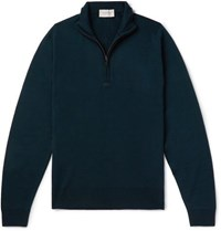 John Smedley Tapton Slim Fit Merino Wool Half Zip Sweater Green