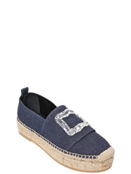 Roger Vivier 40Mm Sequin Cotton Denim Espadrilles