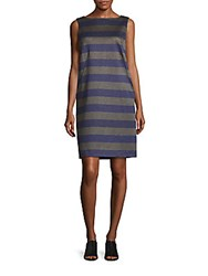 Lafayette 148 New York Space Striped Bateau Neck Shift Dress Blue
