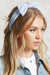 Forever 21 Crepe Woven Bow Headwrap Baby Blue