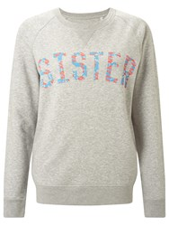 Selfish Mother Sister Crew Neck Sweatshirt Grey Neon And Pale Blue Floral