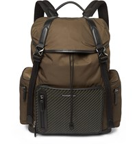 Ermenegildo Zegna Pelle Tessuta Leather Mesh And Nylon Backpack Green