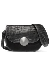 8 Calf Hair Paneled Croc Effect Leather Shoulder Bag Black