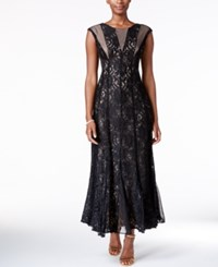 R And M Richards Sequined Lace Pleated Gown Black Taupe