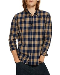 Scotch And Soda Plaid Long Sleeve Button Down Slim Fit Shirt Combo Blue
