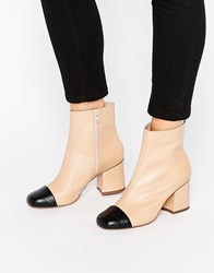 Asos Remus Leather Ankle Boots Nude Black Beige