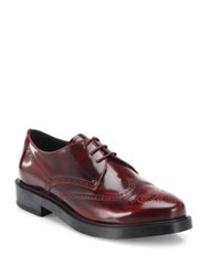Tod's Leather Brogue Lace Up Oxfords Burgundy