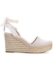 Michael Michael Kors Closed Toe Wedges Women Raffia Leather Canvas 6.5 Nude Neutrals