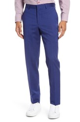 Nordstrom Shop Flat Front Stretch Wool Trousers High Blue