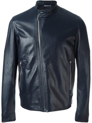 Christian Dior Homme Zipped Leather Jacket Blue