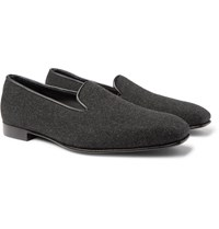 Anderson And Sheppard George Cleverley Leather Trimmed Cashmere Slippers Gray