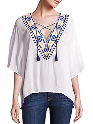 Piper Java Lace Up Top White
