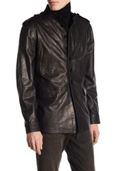 John Varvatos Genuine Leather Officer Jacket Black