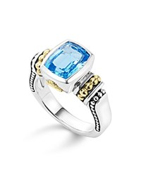 Lagos 18K Gold And Sterling Silver Caviar Color Ring With Swiss Blue Topaz Blue Silver