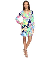Lilly Pulitzer Fleur Dress Resort Navy Travelers Palm Women's Dress Green