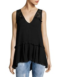 Free People Lace Trim Peplum Tank Black