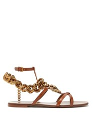 Dolce And Gabbana Devotion Heart Chain Leather Sandals Tan