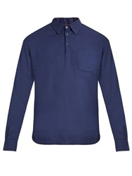 Barena Long Sleeved Brushed Cotton Polo Shirt Blue