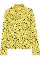 Cedric Charlier Woman Ruched Floral Print Silk Turtleneck Top Yellow