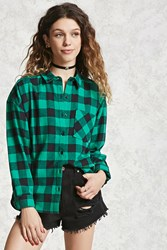 Forever 21 Plaid Flannel Shirt Green Black
