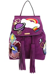 Marc Jacobs Patched Zip Backpack Pink Purple