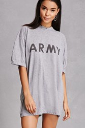 Forever 21 Repurposed Army Graphic Tee Grey