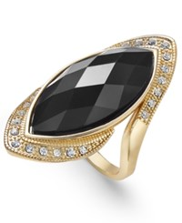 Inc International Concepts Gold Tone Crystal Black Stone Ring Only At Macy's