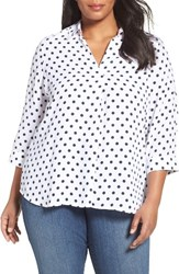 Foxcroft Plus Size Women's Fleur Dot Print Blouse White Navy