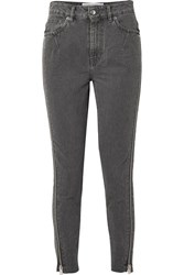 Iro Essey Zip Embellished Frayed High Rise Skinny Jeans Dark Gray