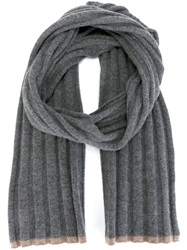 Brunello Cucinelli Ribbed Scarf Grey