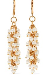 Kenneth Jay Lane Rhodium Plated Faux Pearl Earrings White