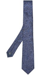 Lanvin Paisley Pointed Tie Blue