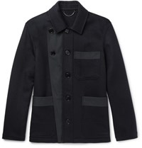 Burberry Runway Gabardine Trimmed Double Faced Cashmere Jacket Navy