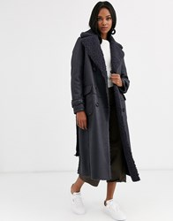 Urbancode Reversible Shearling Long Length Belted Coat Navy